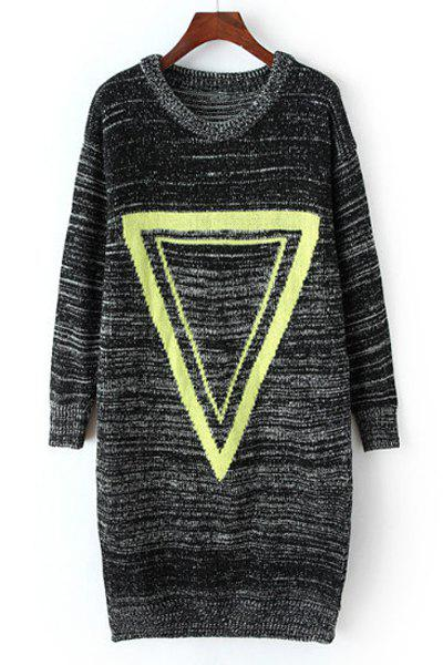 Women's Simple Geometrical Print Long Sleeve Pullover Sweater - BLACK ONE SIZE(FIT SIZE XS TO M)