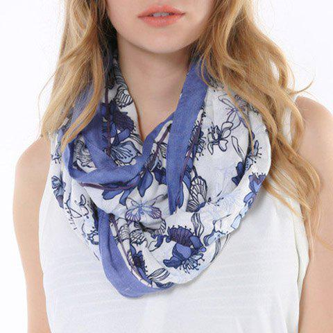 Chic Handpainted Flower and Butterfly Pattern Multifunctional Women's Scarf - CADETBLUE