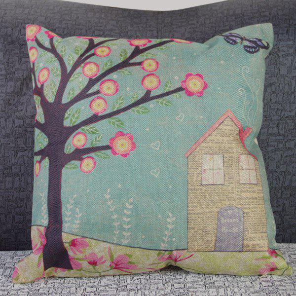Classical Linen Tree and House Pattern Decorative Pillowcase (Without Pillow Inner) - COLORMIX