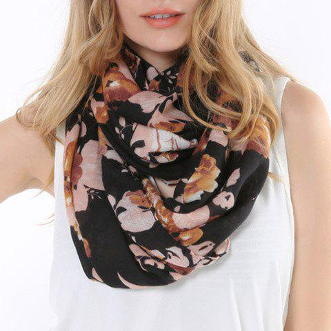 Chic Handpainted Oil Painting Flower Pattern Women's Scarf - BLACK