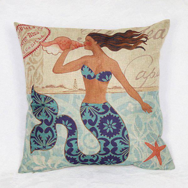Classical Linen Mermaid Pattern Decorative Pillowcase (Without Pillow Inner) - COLORMIX