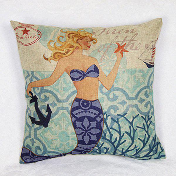 Colorful Linen Mermaid Pattern  Decorative Pillowcase (Without Pillow Inner) - COLORMIX