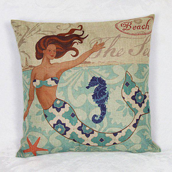 Colorful Mermaid Pattern Linen Decorative Pillowcase (Without Pillow Inner) - COLORMIX
