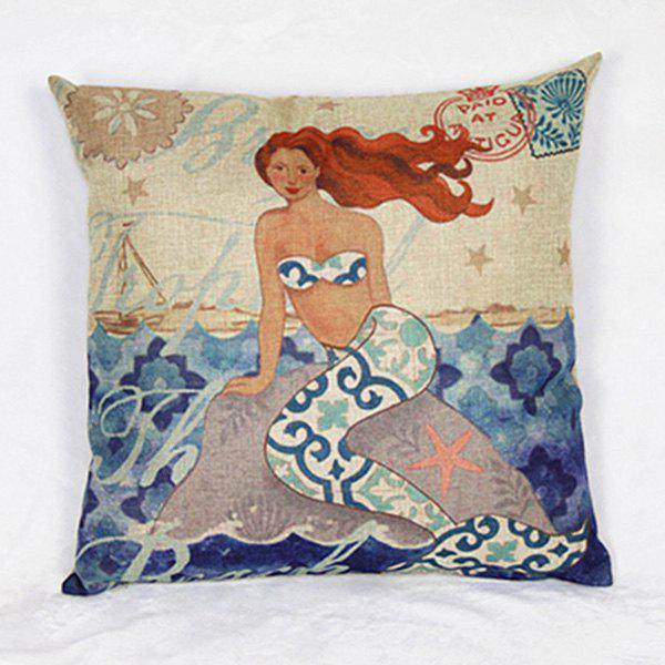 Colorful Mermaid Pattern Decorative Pillowcase (Without Pillow Inner)
