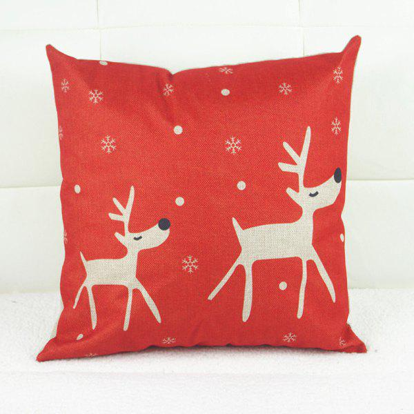 Elegant Christmas Deer Pattern Square Pillowcase (Without Pillow Inner) - RED/WHITE