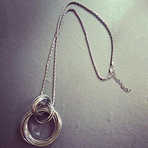 Alloy Hollow Out Annulus Pendant Necklace - GUN METAL