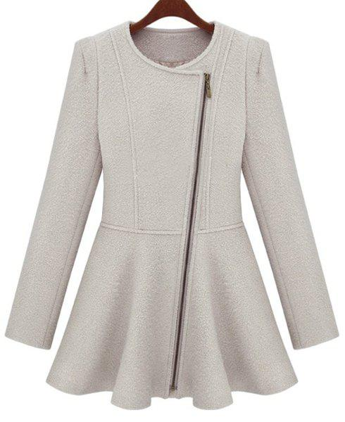 Elegant Women's Round Neck Long Sleeve Worsted Ruffled Coat - OFF WHITE S