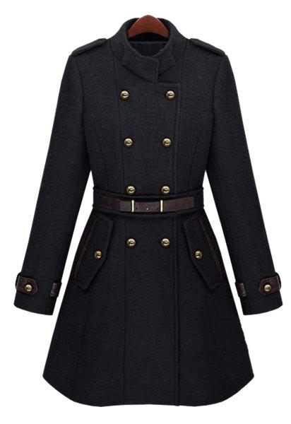 Elegant Stand Collar Double-Breasted Long Sleeve Worsted Coat For Women - BLACK L