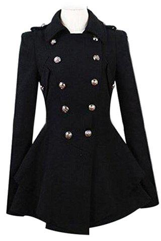 Long Sleeve Pure Color Peacoat For Women