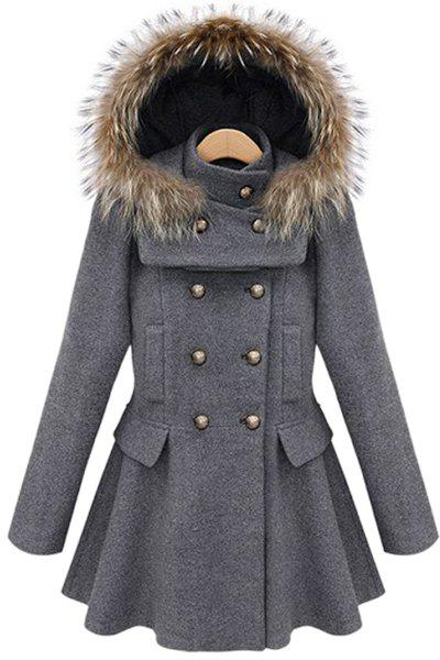 Simple Long Sleeve Hooded Pure Color Peacoat For Women - GRAY M
