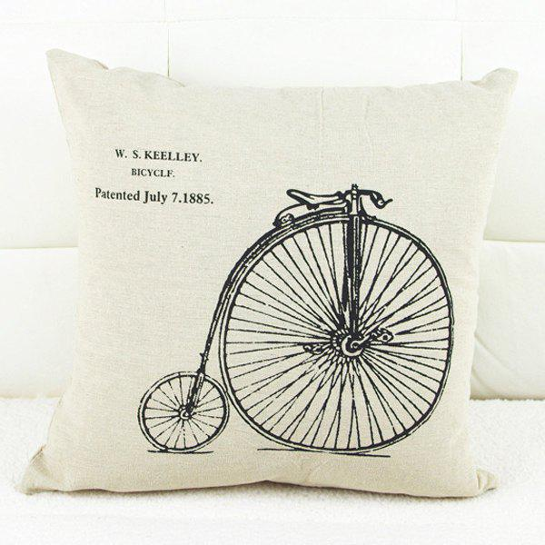Modern Bicycle Pattern Square Pillowcase (Without Pillow Inner) - WHITE/BLACK