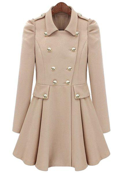 Stylish Long Sleeve Pure Color Double Breasted Trench Coat For Women - OFF WHITE M