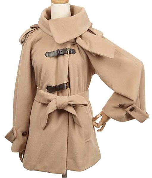 Simple Long Sleeve Hooded Pure Color Turn-Down Collar Coat For Women - CAMEL XL