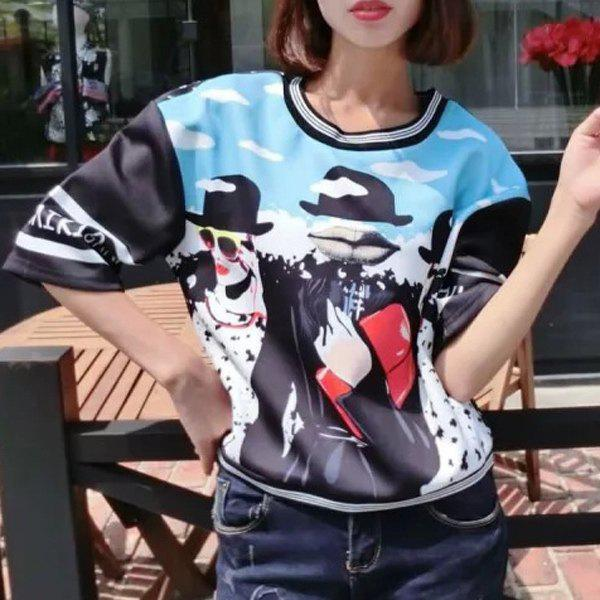 Elegant Women's Scoop Neck 1/2 Sleeves Printed Sweatshirt - M AZURE