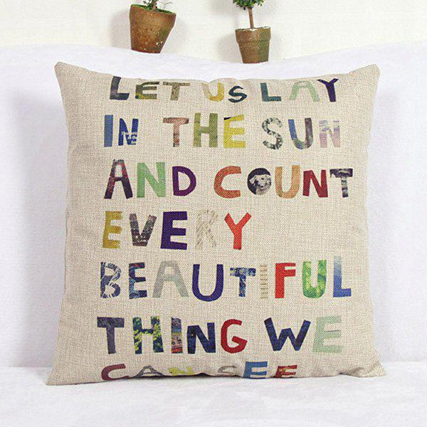 Modern Letter Pattern Square Linen Decorative Pillowcase (Without Pillow Inner) - COLORMIX
