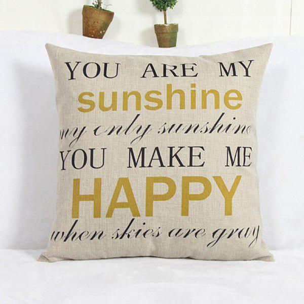 Fashion Square Letter Pattern Linen Decorative Pillowcase (Without Pillow Inner) - COLORMIX