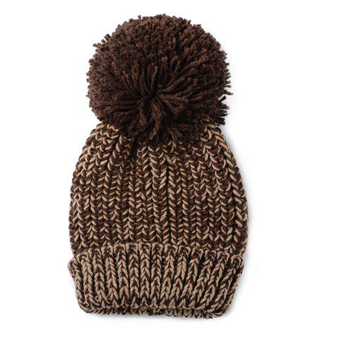 Chic Big Woolen Yarn Ball Embellished Mixed Color Women's Warmth Knitted Beanie - COFFEE