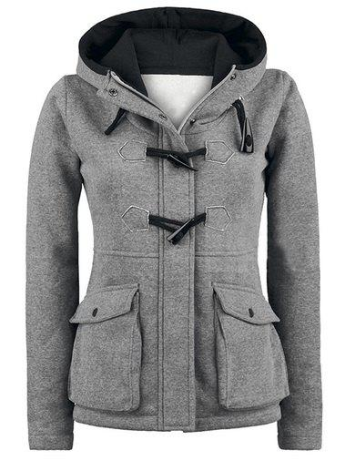 Pocket Design Hooded Duffle Jacket - GRAY S