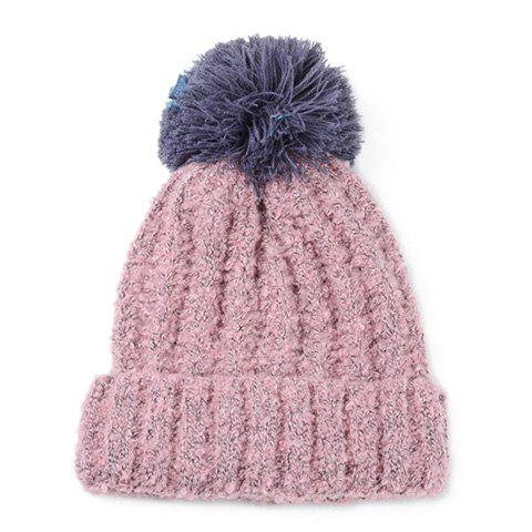 Chic Woolen Yarn Ball Embellished Flanging Thicken Women's Knitted Beanie - PINK