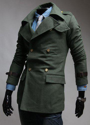 Epaulet Design Turn-Down Collar Golden Buttons Double-Breasted Long Sleeve Men's Coat - ARMY GREEN L