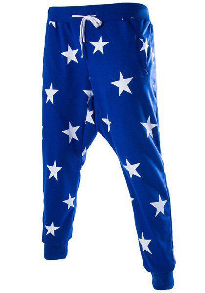Stars Print Lace-Up Low-Crotch Beam Feet Slimming Men's Nine Minutes of Pants - BLUE M