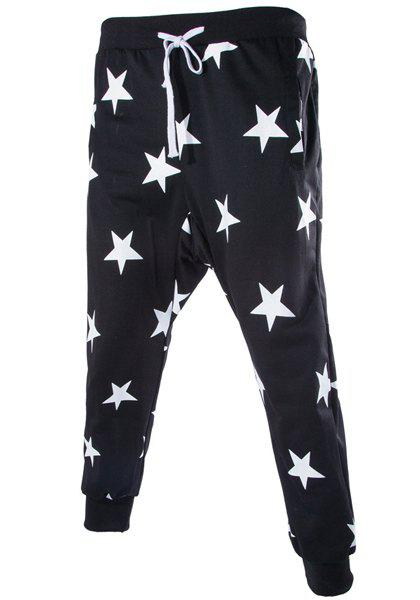Stars Print Lace-Up Low-Crotch Beam Feet Slimming Men's Nine Minutes of Pants - BLACK L
