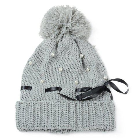 Chic Ribbon and Faux Pearl Embellished Solid Color Women's Knitted Beanie - GRAY