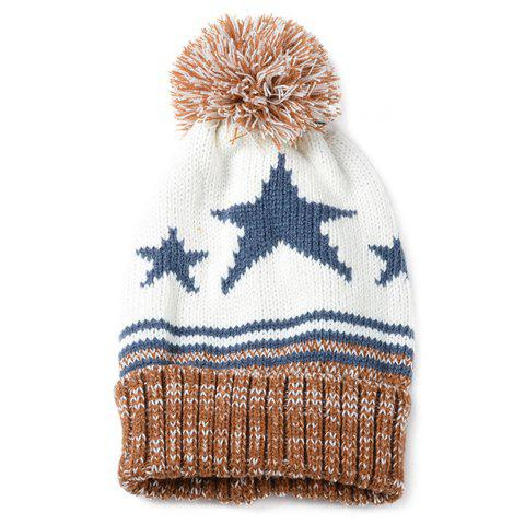 Chic Small Ball Embellished Five-Pointed Star Pattern Women's Knitted Beanie - COFFEE