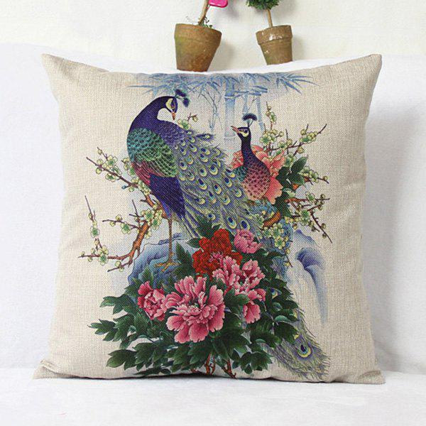 Classical Peacock Pattern Decorative Pillowcase(Without Pillow Inner) - COLORMIX