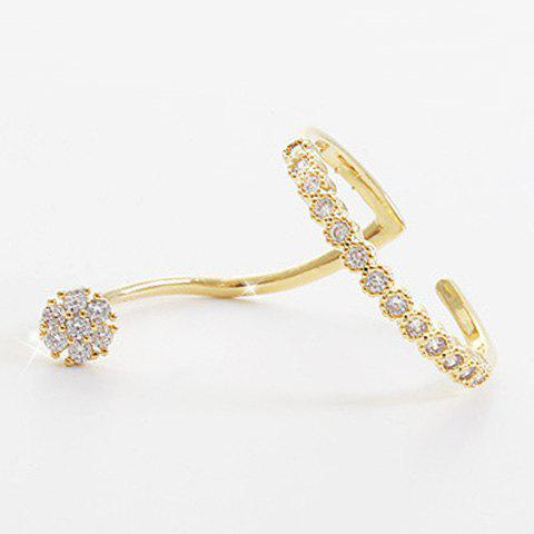 Simple Style Rhinestoned Floral Cuff Ring For Women - GOLDEN ONE-SIZE