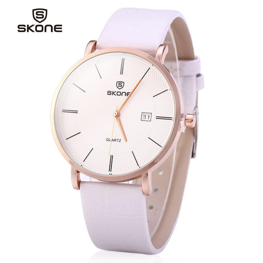 SKONE 9307 Ultrathin Leather Quartz Men Watch for Young Students - WHITE