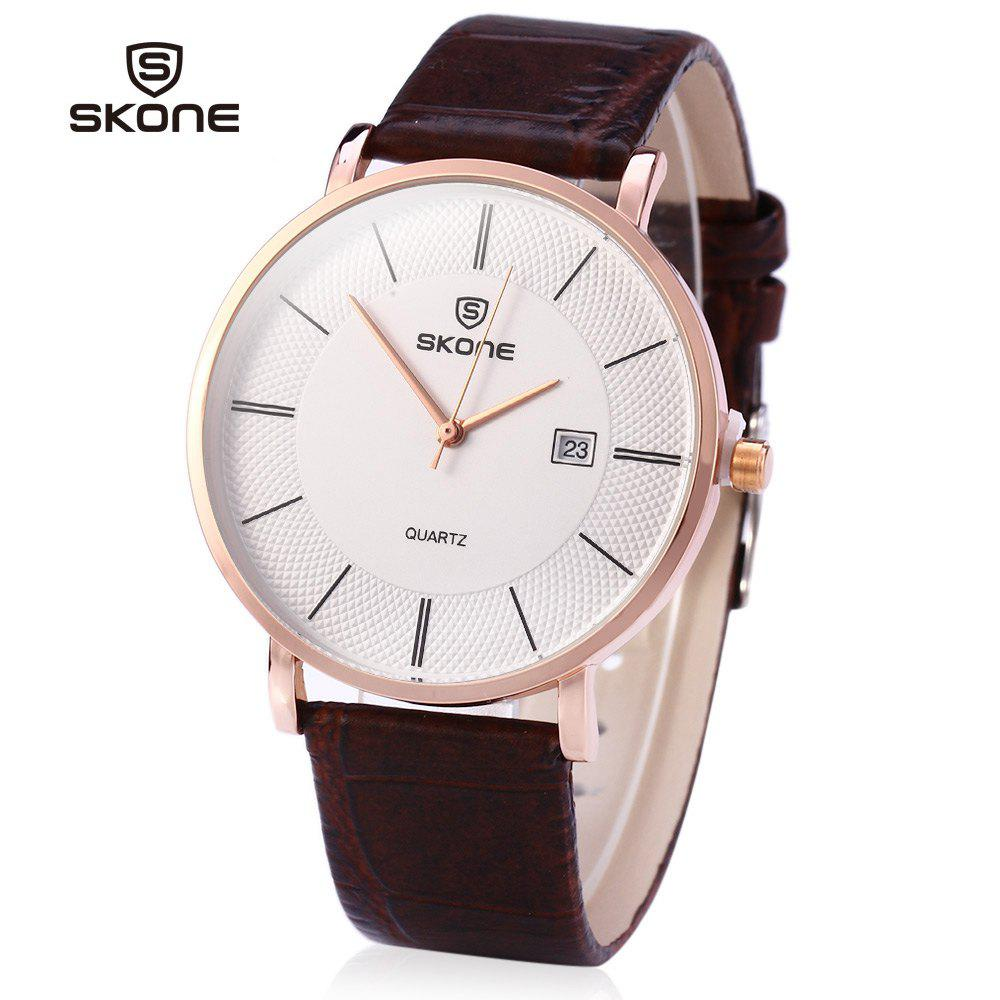 SKONE 9307 Ultrathin Leather Quartz Men Watch for Young Students - COFFEE