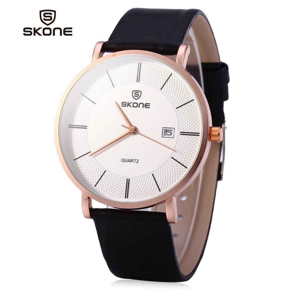 SKONE 9307 Ultrathin Leather Quartz Men Watch for Young Students - BLACK