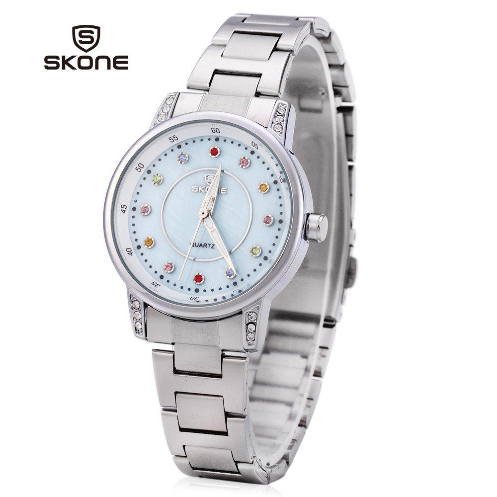SKONE 7317 Colored Diamond Scale Women Quartz Watch Shell Dial - BLUE
