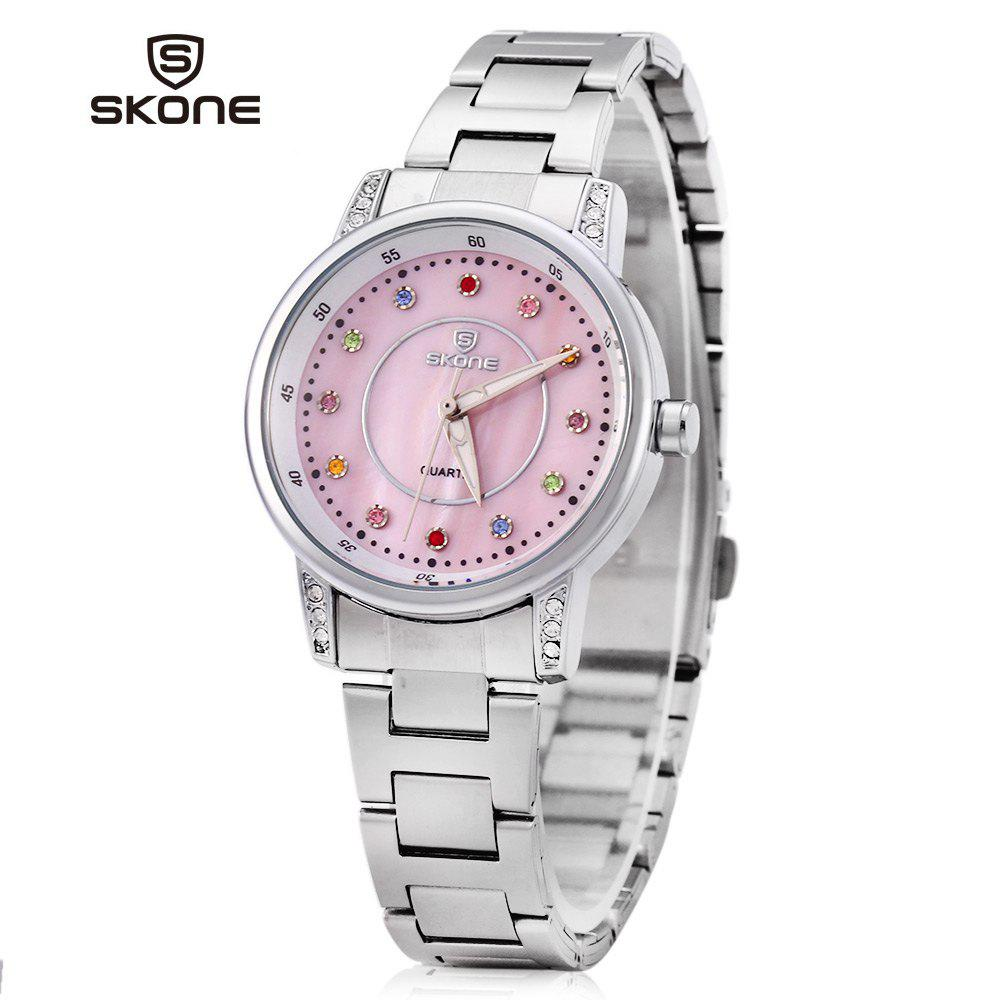 SKONE 7317 Colored Diamond Scale Women Quartz Watch Shell Dial