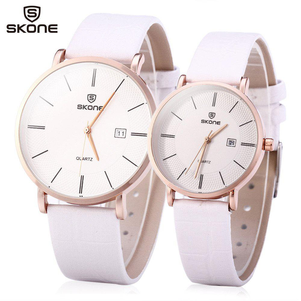 SKONE 9307 Ultrathin Quartz Couple Watch with PU Leather Strap
