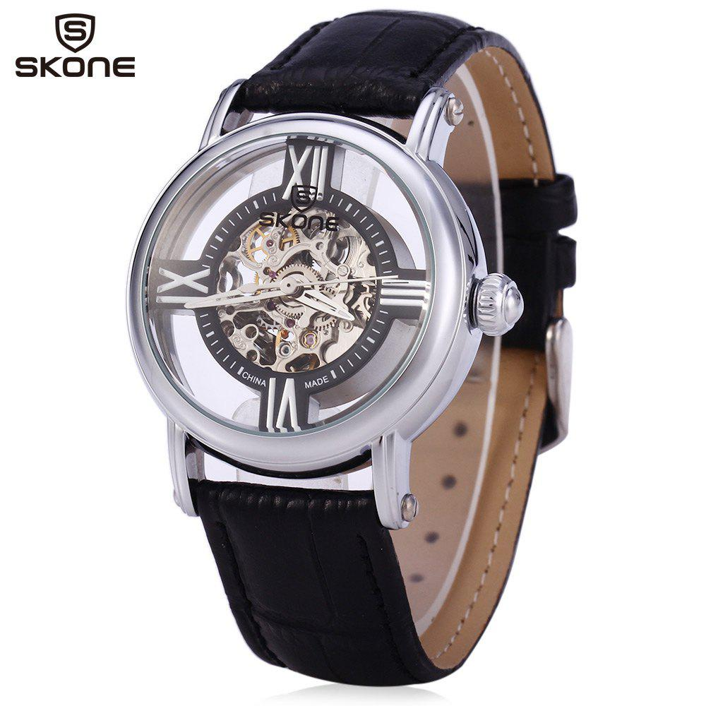 SKONE 80057 Women Hollow Mechanical Watch with Genuine Leather Band - BLACK