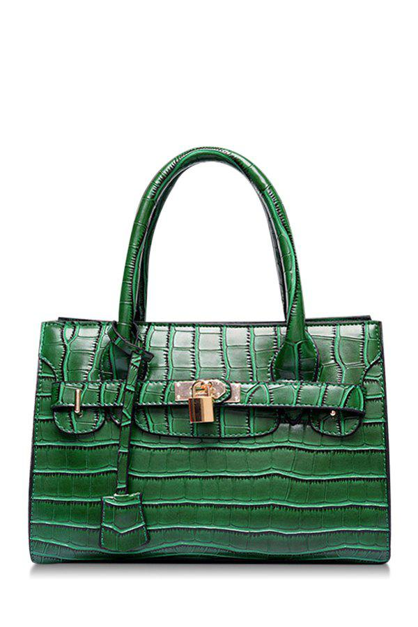 Gorgeous Crocodile Print and Lock Design Women's Tote Bag - GREEN