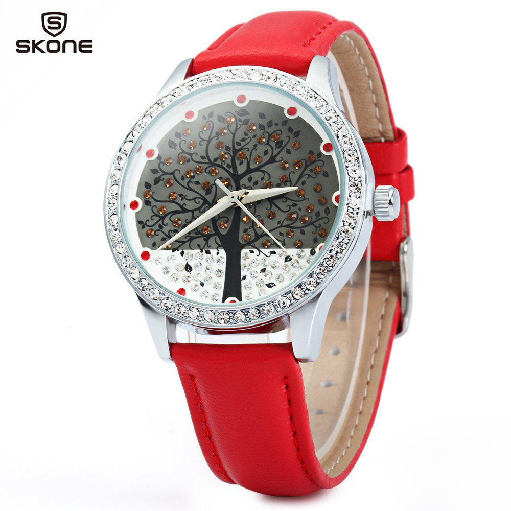SKONE 9195 Women Quartz Imitation Diamond Wrist Watch with Tree Design Dial PU Strap - RED