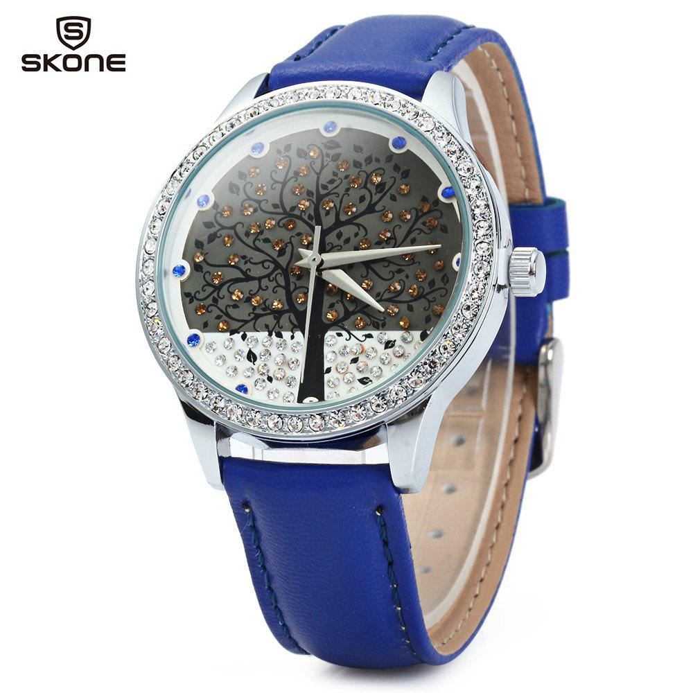 SKONE 9195 Women Quartz Imitation Diamond Wrist Watch with Tree Design Dial PU Strap - BLUE
