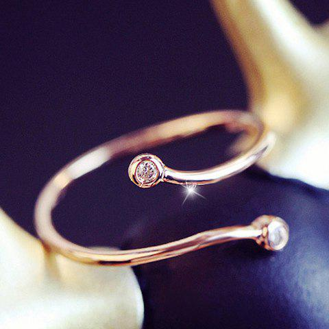 Simple Rhinestone Cuff Ring For Women - ROSE GOLD ONE-SIZE