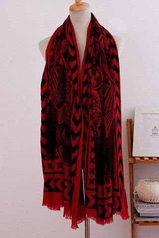 Fashion Tribal Totem Pattern Tassel Biservice Women's Scarf - RED