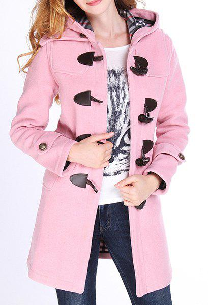 Sweet Style Hooded Long Sleeve Buttoned Pocket Design Women's Coat - PINK L