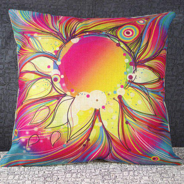 Sweet Square Flower Pattern Linen Decorative Pillowcase(Without Pillow Inner) - COLORMIX