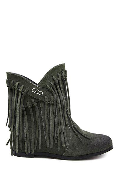 Vintage Tassel and Cross Straps Design Women's Ankle Boots - ARMY GREEN 39