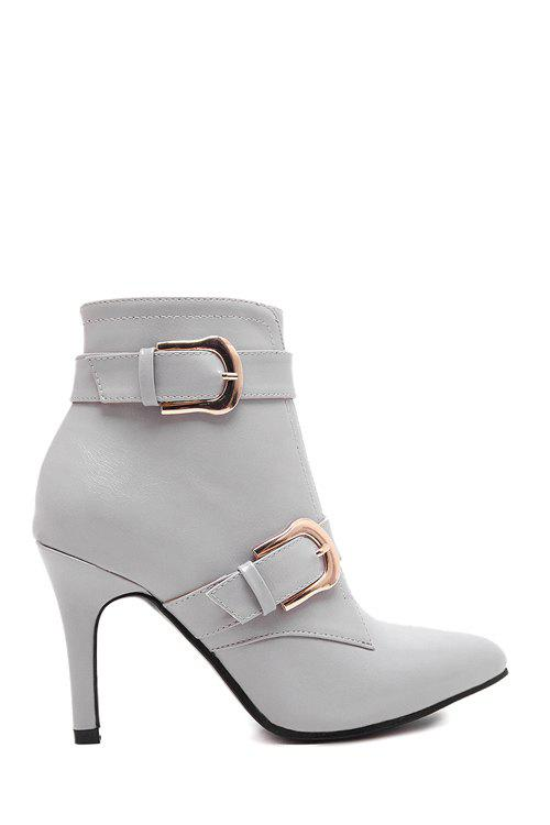 Fashion Metallic Buckle and Zipper Design Women's Ankle Boots - GRAY 38