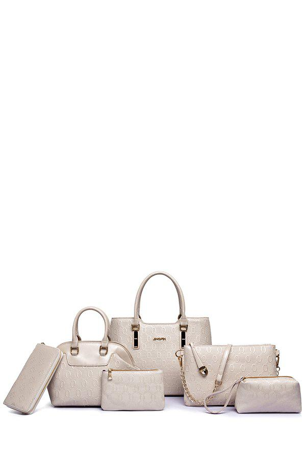 Trendy Embossing and Letter Design Women's Tote Bag - OFF WHITE