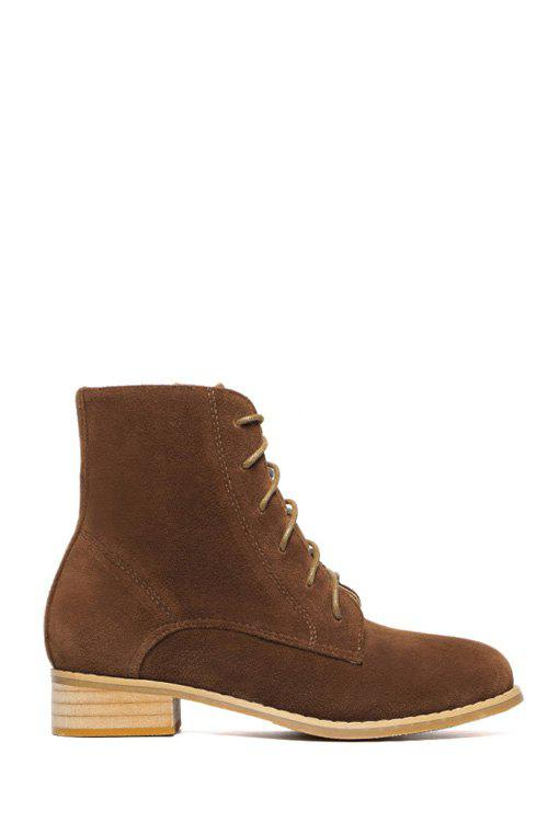 Preppy Lace-Up and Suede Design Women's Combat Boots - DEEP BROWN 38