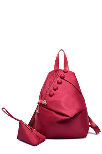 Trendy Button and Solid Color Design Women's Satchel - WINE RED