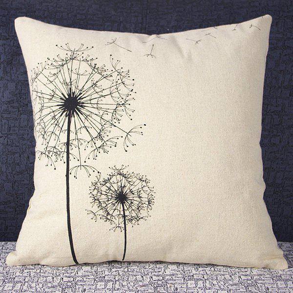 Colorful Dandelion Pattern Square Pillowcase(Without Pillow Inner) - WHITE/BLACK